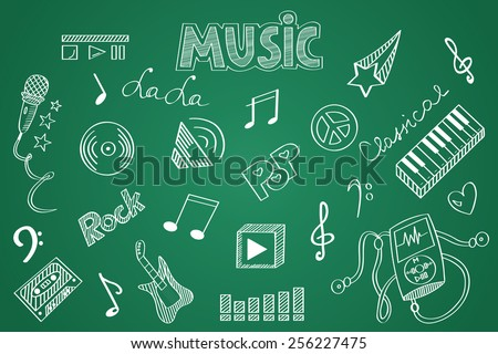 Hand drawn Music set. Chalk on the blackboard  - stock vector