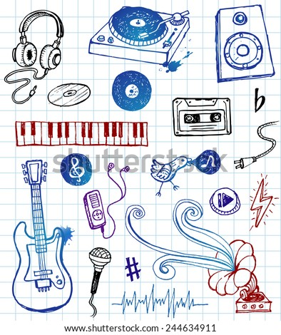 Hand-drawn musical icons in funky style. - stock vector
