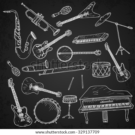 Hand drawn musical instruments. - stock vector