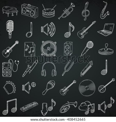Hand drawn musical instruments icons set. - stock vector
