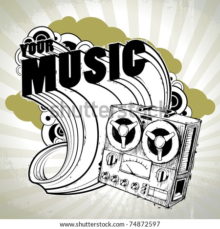 Hand-drawn musical poster with retro recorder. Layered. Vector EPS 10 illustration. - stock vector