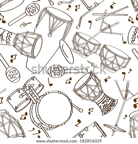 Hand drawn musical seamless pattern of drum set - stock vector