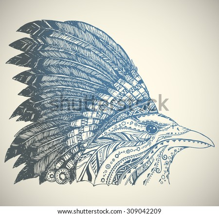 Indian headdress crown in indian chief feather hat stock vector
