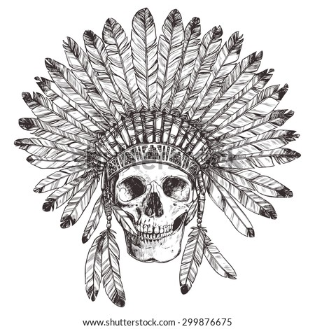 indian hat template - indian skull headdress coloring pages