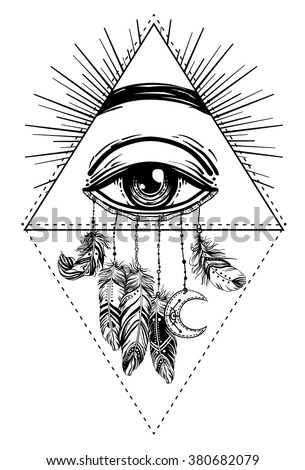 Hand drawn Native American Indian talisman dreamcatcher with eye, feathers and moon. Vector hipster illustration isolated on white. Ethnic design, boho chic, tribal symbol. Coloring book for adults.  - stock vector