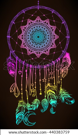 Hand drawn Native American Indian talisman dreamcatcher with feathers and moon. Vector hipster colorful gradient  illustration isolated on black. Ethnic design, boho chic, tribal symbol.