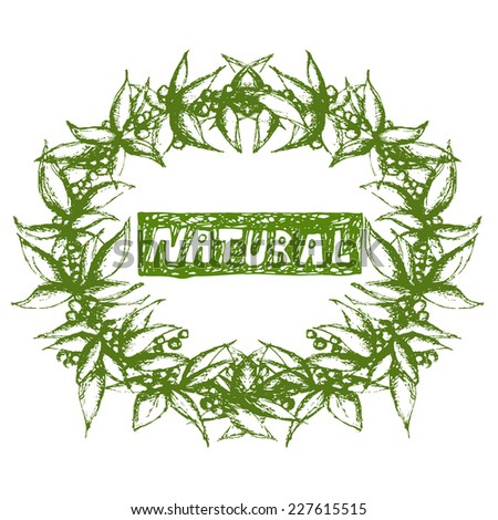 Hand drawn Natural leaves wreath isolated on white. Vector eps10 - stock vector