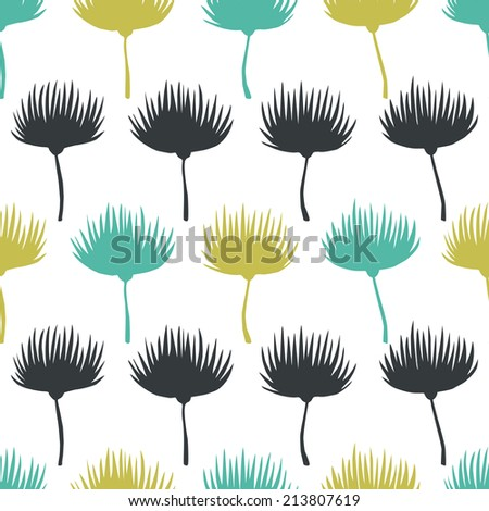 Hand drawn natural pattern. Floral vector background. Seamless illustration. - stock vector