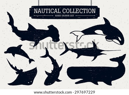 Hand drawn nautical collection of fish and sea inhabitants. Dolphin, white shark, killer whale, cachalot, hammer-head, swordfish, and ramp. - stock vector