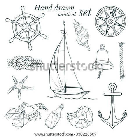 Hand drawn nautical set, vector illustration