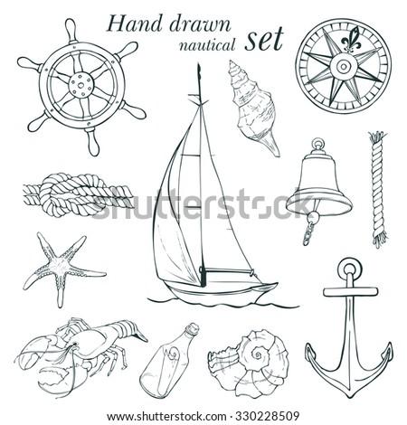 Hand drawn nautical set, vector illustration - stock vector