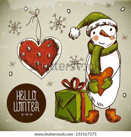 Hand-drawn New Year and Christmas Greeting Card. Vector Illustration. Design Elements with snowman, gifts and heart - stock vector