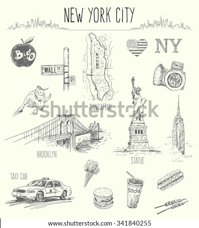 Hand drawn New York city collage,isolated vector illustration - stock vector