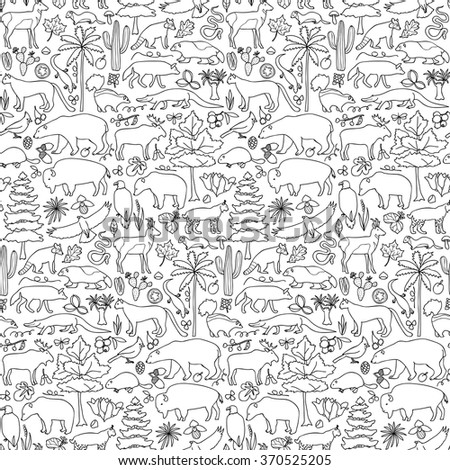 Hand drawn North America seamless pattern. Vector illustration of seamless pattern with North American animals and plants