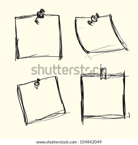 Hand drawn note papers - stock vector