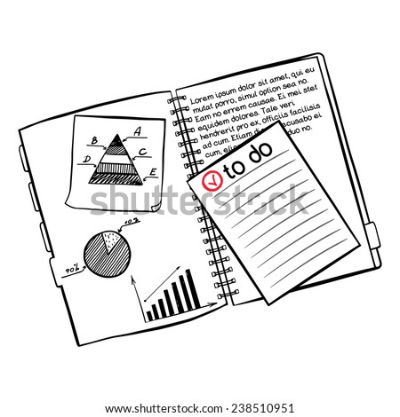 Hand drawn notebook with sticky note paper and quick doodles sketched on them isolated on white background. - stock vector