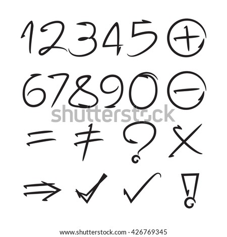 hand drawn number and math signs