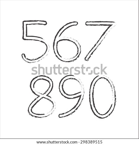 Hand drawn numbers isolated on white background. Vector illustration. - stock vector