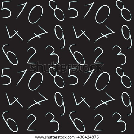 Hand Drawn Numbers Vector Set. Handwritten lettering collection. Hand drawn design elements.Vector Illustration of numeral seamless pattern for Design, Website, Background, Banner.