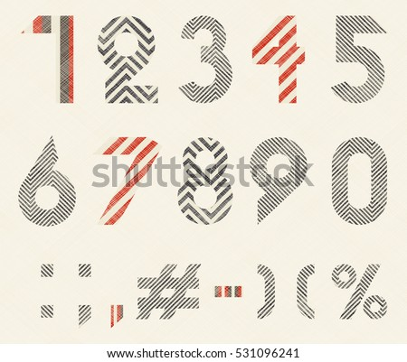 Hand drawn numeral and mathematics signs with geometric pattern in retro colors on texture background. Vector illustration