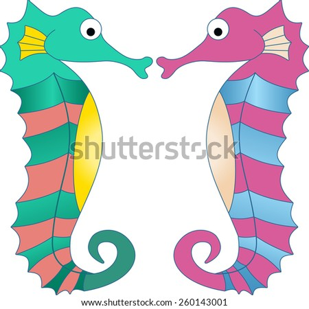 Hand drawn ocean background. Sea horses on white background. Tropical sea life design. - stock vector