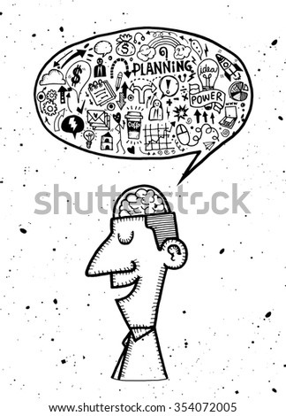 Hand Drawn of Business man thinking.Doodle style,Flat Design Vector illustration