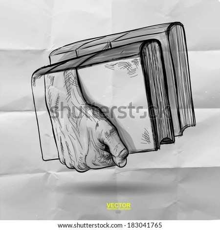 hand drawn of hands holding the books as creative concept - stock vector