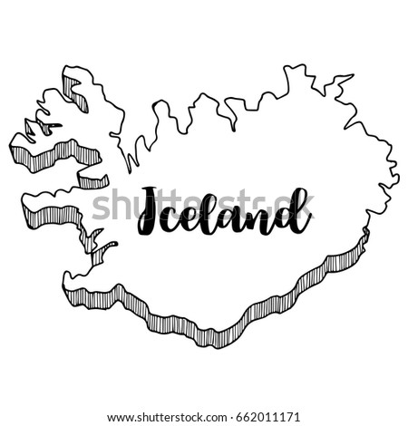 Hand Drawn Iceland Map Vector Illustration Stock Vector (Royalty ...