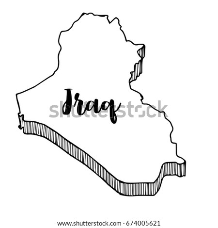 Hand Drawn Iraq Map Vector Illustration Stock Vector 674005621