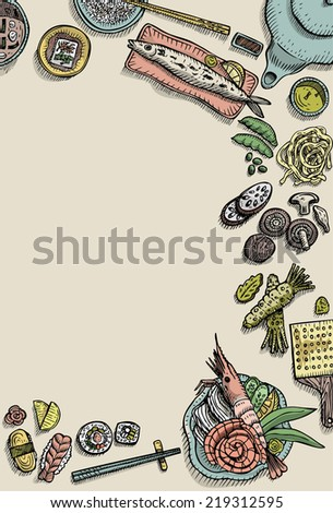 Hand drawn of Japanese food and ingredients - stock vector