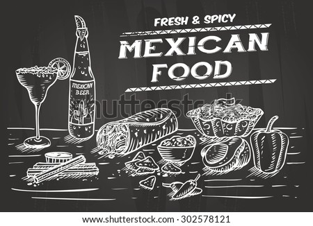 Hand drawn of Mexican food and drinks on a chalkboard - stock vector