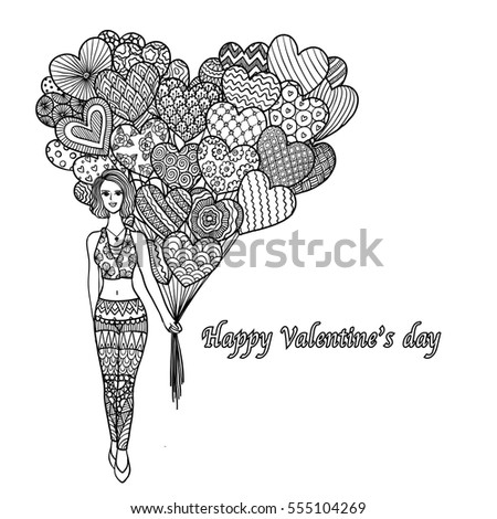 Hand drawn of sexy lady holding hearted shape balloons with text 'Happy Valentine's day' for cards,wedding invitations and adult coloring book