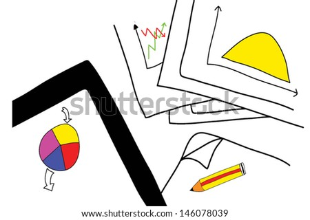 Hand drawn Office and Business Supplies Background - stock vector
