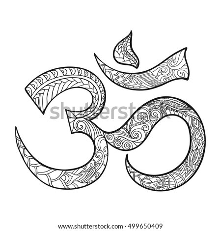 hand drawn ohm symbol indian diwali spiritual sign om with high details isolated on white