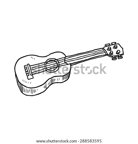 hand drawn okulele - stock vector