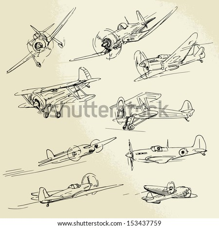 hand drawn old airplanes - stock vector
