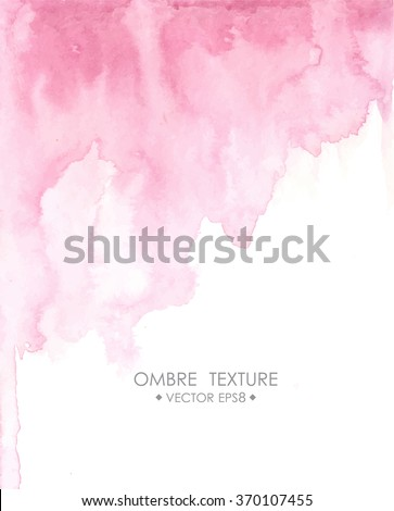 Hand drawn ombre texture. Watercolor painted light blue background with white space for text. Vector illustration for wedding, birhday, greetings cards, web, print, scrapbooking. - stock vector