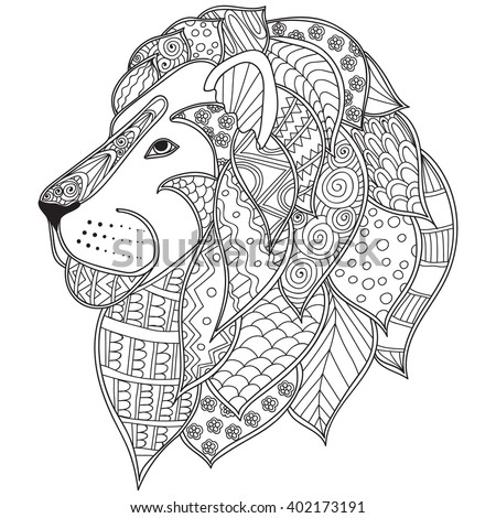 Hand Drawn Ornamental Outline Lion Head Stock Vector