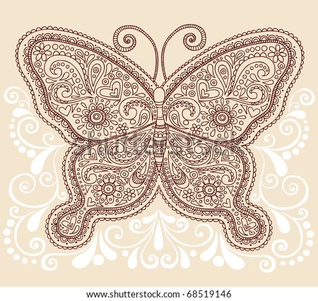 Hand-Drawn Ornate Butterfly Henna Mehndi Paisley Doodle Vector Illustration Tattoo Design Element with Swirls - stock vector