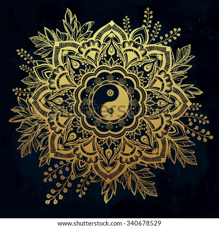 Hand drawn ornate flower in the crown of leaves with  Yin and yang Tao symbol. Isolated Vector illustration. Invitation element. Tattoo, astrology, alchemy, boho and magic symbol. - stock vector