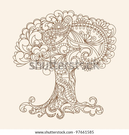 Hand-Drawn Ornate Tree Doodle Vector Illustration - stock vector