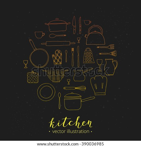 Hand drawn outline kitchen utensils composed in circle shape. Teapot, chef hat, spoon, spatula, knife, bowl, grater, saucepan, plate, colander, potholder. - stock vector