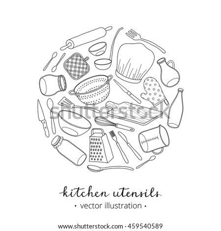 Hand drawn outline kitchen utensils composed in circle shape with lettering on white background. - stock vector