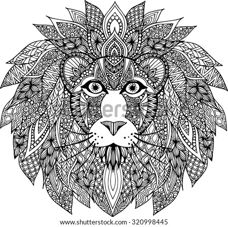 Hand Drawn Doodle Zentangle Lion Illustration Stock Vector