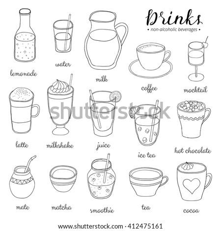 Hand drawn outline non-alcoholic drinks isolated on white background. Lemonade, water, milk, coffee, mocktail, latte, milkshake, juice, ice tea, chocolate, mate, matcha, smoothie, tea, cocoa. - stock vector