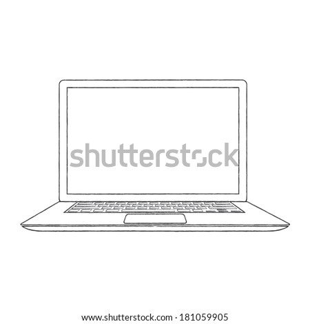 Hand-drawn outlined laptop vector illustration - stock vector