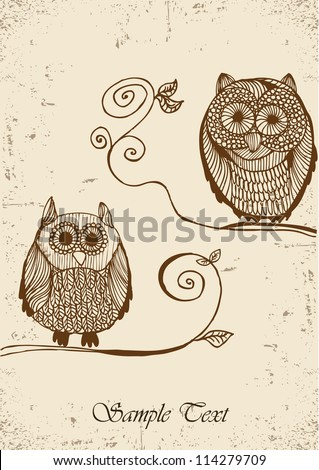 Hand drawn owls - stock vector