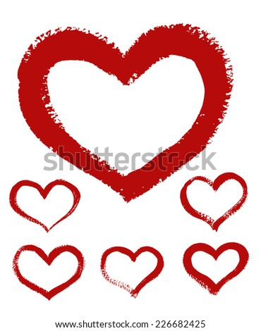 Hand-drawn painted heart, vector element for your design  - stock vector