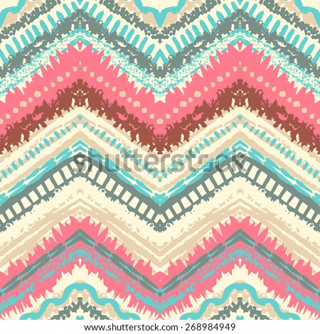 Hand drawn painted seamless pattern. Vector illustration for tribal design. Ethnic motif. Zigzag and stripe line. Retro colors. For invitation, web, textile, wallpaper, wrapping paper. - stock vector