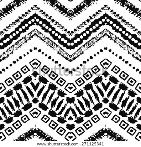 Hand drawn painted seamless pattern. Vector illustration for tribal design. Ethnic motif. Zigzag and stripe line. Black and white colors. For invitation, web, textile, wallpaper, wrapping paper. - stock vector
